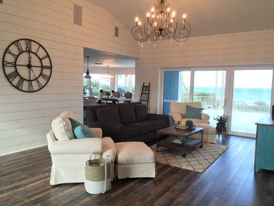 Ocean front family room open to the kitchen and dining room