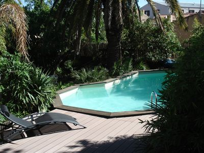 Photo for In a tropical garden with private pool and beach come and enjoy the zen ..