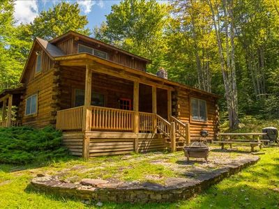 Photo for The Perfect Respite awaits in this Modern yet Rustic Log Home in the woods! Hot Tub, Fireplace