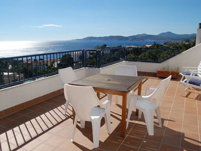 Photo for Nice sunny top-floor apartment with large terraces and panoramic sea views. It is situated