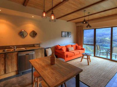 Photo for Balcony apartment with unique alpine decor and spectacular mountain views