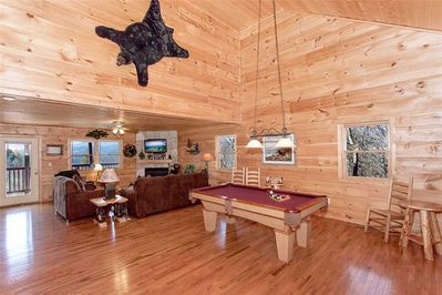 Mountain Symphony - Living Area with Fireplace and Pool Table