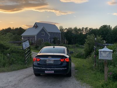 Sun setting at the DenmarkStageStop House in Denmark Maine.