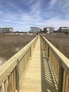 Boardwalk to the beach is perfect for pulling the beach cart  and beach items