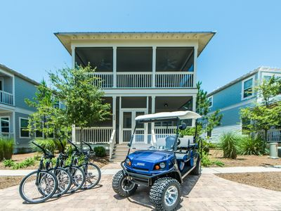 Photo for 2 MASTERS! 6 Seater Golf Cart! HEATED Resort Pool! 4 Bikes! Sea You Soon at NatureWalk 30A