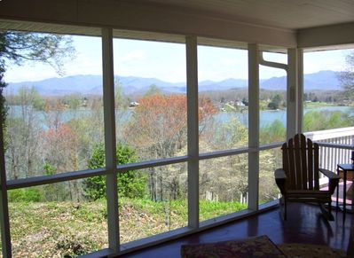 SPRING views from the porch includes the NC mountains!