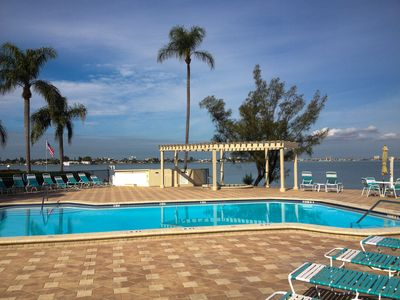 What a view from the heated pool!  Hot tub also overlooks the bay.