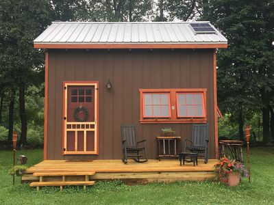 Photo for NEW! The Fernberry ...warm, cozy, post and beam Off-The-Grid cabin on the hill