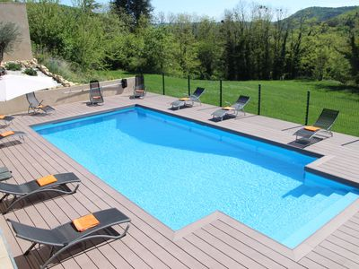 Photo for Big house (12 ppl.) with a heated pool and Jacuzzi in the Ardèche region