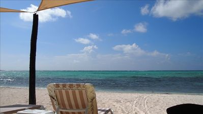 Crystal clear water and white sandy beach. Private strip of beach.