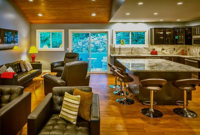Open floor plan allows for lively conversation with everyone at once.