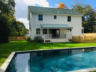 Photo for New farmhouse with beach rights and salt water, heated pool