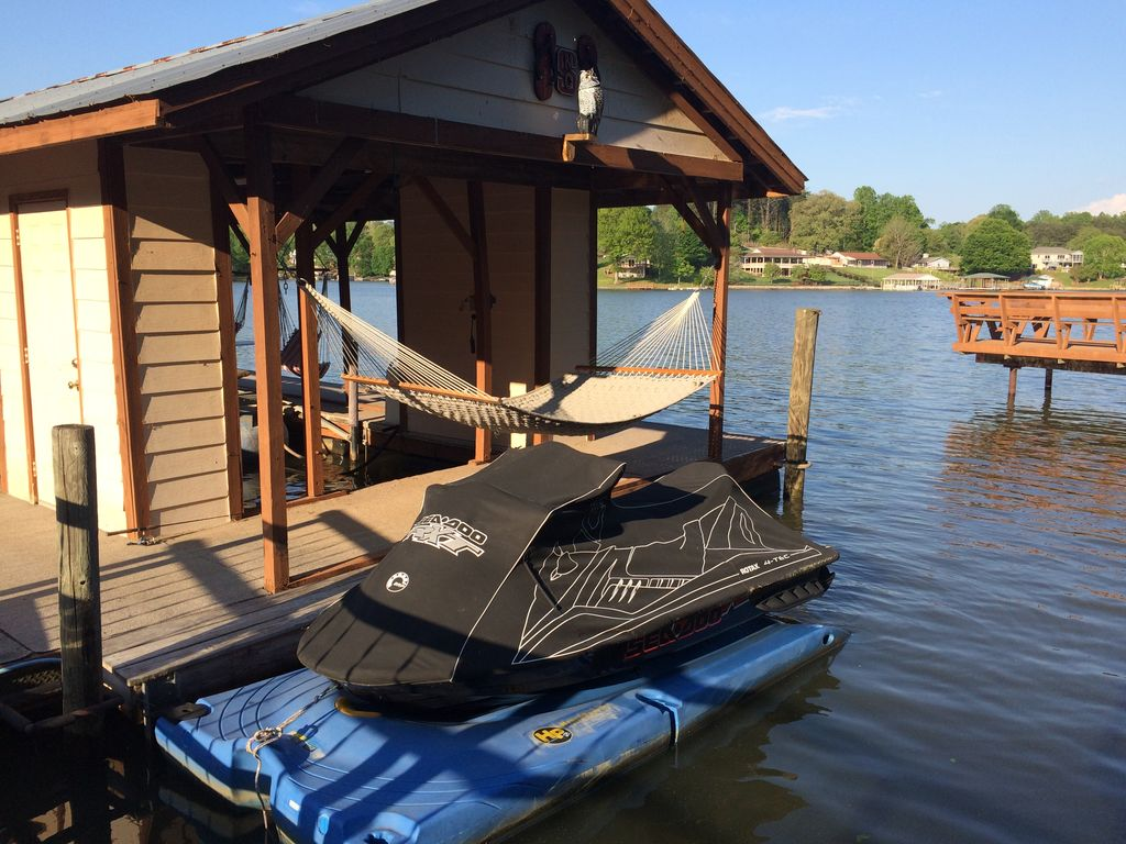 Awesome fun nothing fancy affordable lakefront ramp dock for Affordable lakefront homes