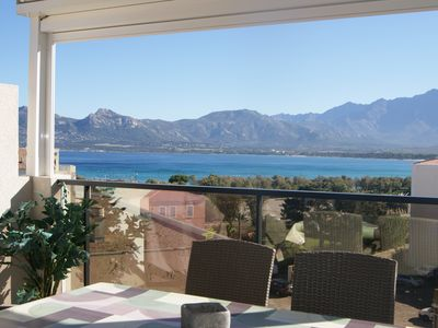 Photo for Calvi, magnificent sea / mountain view, 200m beach, large terrace, beautiful rooms