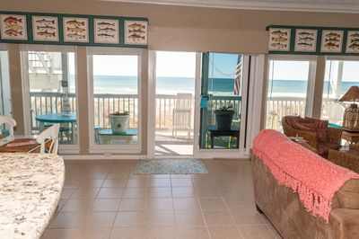Gorgeous beach view from great room; GREAT ROOM SEATS 7 BIG SCREEN TV FIREPLACE
