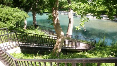 stairs leading to the private river access for you and your guests