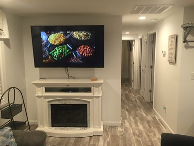 "60"" tv in living room with HD cable"