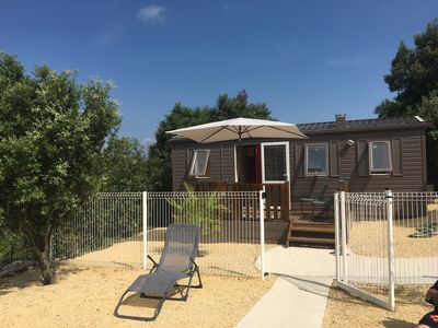 Photo for bungalow mobilhome concept naturlodge in Ardeche 4 people with private pool