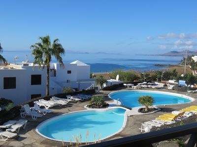 Photo for Front line, contemporary, newly refurbished, stunning sea views, pool, WiFi, SKY