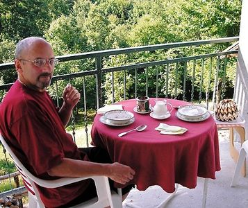 In the balcony with the wide, green view that offer our Ligurian mountains