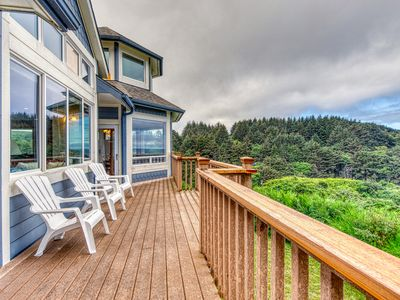 Photo for Stunning blufftop home w/ deck & views of the ocean/hills - 2 dogs welcome!