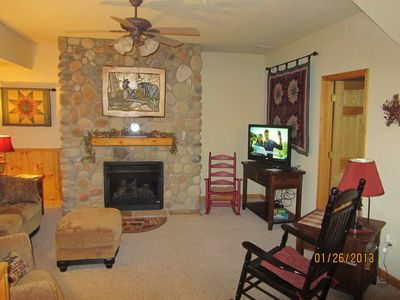 This is our living room. We offer free cable TV and a Free Wi-Fi.