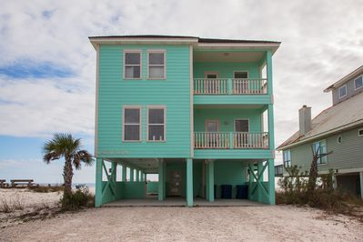 The Seafoam vacation home from the north, toward the Gulf Shores beach