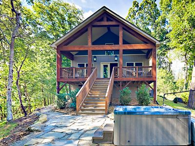 Photo for Peaceful Mountain Retreat 10 Minutes from Asheville w/ Hot Tub & Fire Pit