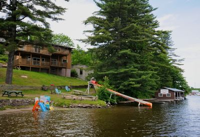 Our 40' water slide into the lake
