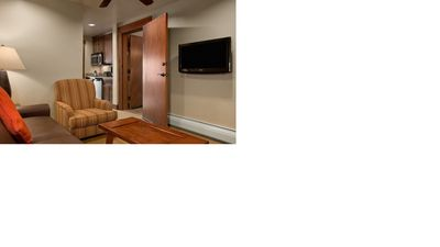 Family room with TV and queen sleeper