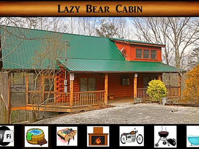 "Photo for ""Lazy Bear Cabin"" - Hot Tub / WiFi / Foosball / Jacuzzi Tub / Secluded"