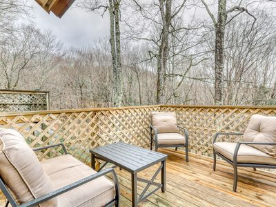 Photo for Modern mtn home w/ forest views & gas fireplace - walk to skiing & golf!