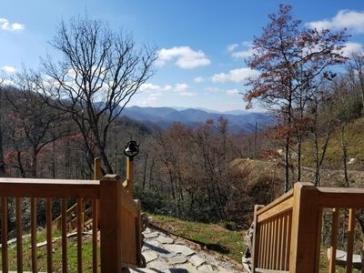 Photo for Romantic Semi-secluded Mountain Top Cabin with brand new hot tub!!!