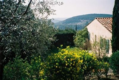 Looking towards villa with valley beyond.