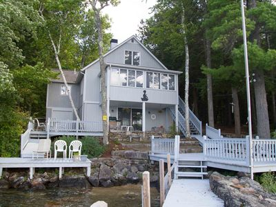 Photo for Lovely waterfront home with stunning lake views, an abundance of outdoor space, 24' boat dock a