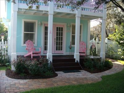 Photo for 'Barbie's Beach House'....Perfect Cottage Steps from Beach heated pool