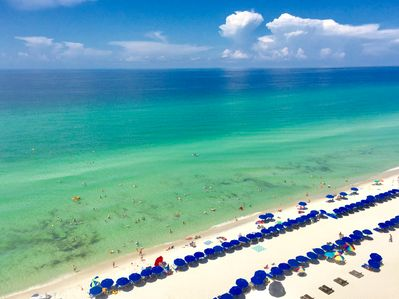 Balcony 9th floor direct Gulf front views; FREE '19 Beach Service for our guests