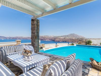 Photo for Villa Crystal in Akrotiri with amazing views of the volcano and the caldera, with 5 bedrooms it can