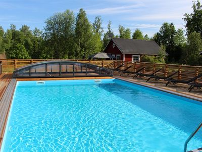 Photo for Cottage heated pool, lake view, boat, wifi, cleaning included, fishing, spa in Småland