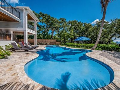 Photo for 4BDs ~ BAYFRONT, 2 Blocks to Beach ~ Boat Dock, HEATED Pool+Spa ~ Free WiFI