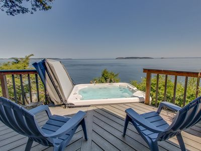 Photo for Dog-friendly, waterfront home w/ private hot tub & island views!