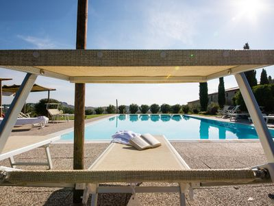 Photo for Relax in a traditional Tuscan farmhouse, fabulous view of the Pisan hills