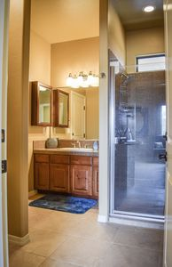 Bathroom (sink and spacious shower)