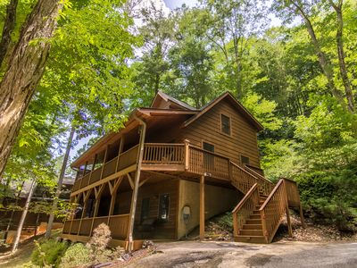 Photo for A Riversound - Valle Crucis Cabin with Large hot tub, Pool, Poker table, walk to river!