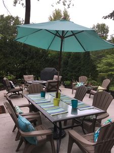 Back patio with gas fire pit and grill. Surrounded by lovely gardens and woods.