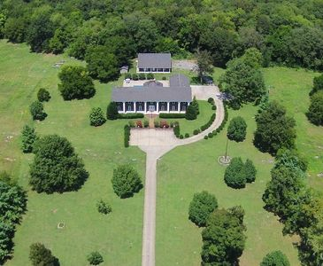 Aerial of The Manor at Long Hunter House, Pool, Hot Tub, Pool House, fire pit