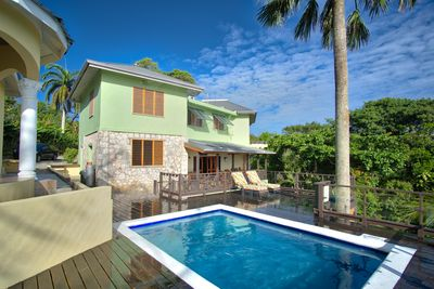 View of the rear of the villa from the pool deck