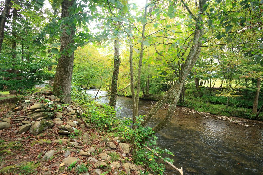 private log cabin next to trout stream fishing on property