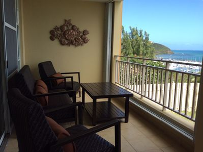 2 Extra wide and private balconies with amazing views and extra comfort seating