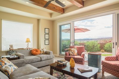 Living with a door to the patio and an amazing view!